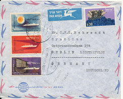 Israel Air Mail Cover Sent To Germany 13-1-1964 Topic Stamps Ships - Posta Aerea