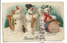 3 Bonshommes De Neige Musiciens, Bouteille De Champagne. - Nouvel An