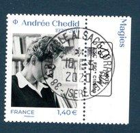 France 2020. Andrée Chedid.Cachet Rond Gomme D'Origine.Poétesse, Romancière, Dramaturge, Parolière, - Frankreich