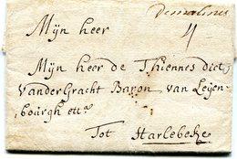 """Belgique Precurseur Man """"de Malines""""-Harelbeke 1730 Taxé 4 Type 1 Herlant 5 Avec Texte - 1714-1794 (Pays-Bas Autrichiens)"""