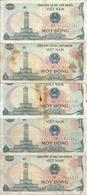 VIET NAM 1 DONG 1985 VF/VG+ P 90 ( 5 Billets ) - Vietnam