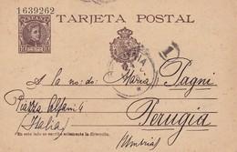 ESPAGNE ENTIRE CARTE POSTALE, CIRCULEE A PERUGIA, UMBRIA ITALIE CIRCA 1900's -LILHU - Interi Postali