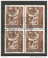 VATICANO - 1966 LAVORO DELL'UOMO £.15 Quartina Usata - Oblitérés