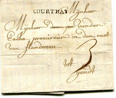 Belgique Precurseur Griffe COURTRAY-Gand 1746 Taxé 3 Type 2  Avec Texte Datée Harelbeke - 1714-1794 (Pays-Bas Autrichiens)