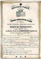 BRUXELLES - Marie Thérèse DOMIS De SEMERPONT  - épouse Baron Jean De SARTIGES-D'ANGLES - Décédée 1847 - Images Religieuses