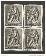 VATICANO - 1966 IL LAVORO DELL'UOMO £.130 Quartina Usata - Oblitérés