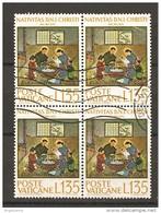 VATICANO - 1964 NATALE £.135 Quartina Usata - Oblitérés