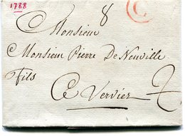 Belgique Precurseur G Cerle Rouge  GAND -Verviers 1788 Taxé 2 Barré Type 4  Avec Texte - 1714-1794 (Pays-Bas Autrichiens)