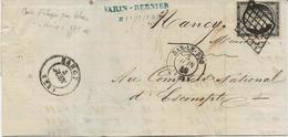 LETTRE AFFRANCHIE CERES N° 3 A -OBLITERATION GRILLE - CAD BAR LE DUC -3-JUIN 1849  -TB - COTE :120 € - 1849-1876: Période Classique