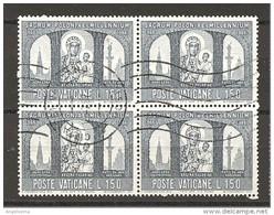 VATICANO - 1965 MILLENNIO POLONIA (MADONNA DI CHESTOKOWA) £.150 Quartina Usata - Oblitérés