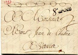 Belgique Precurseur Griffe Noire GAND -Verviers 1753 Taxé 2 Barré 8  Type 2 Avec Texte - 1714-1794 (Pays-Bas Autrichiens)