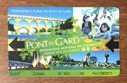 30 PONT DU GARD CARTE DE STATIONNEMENT ÉTAT COURANT PAS TÉLÉCARTE NO PHONECARD CARTE A PUCE - Frankrijk