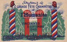 Cpa- Politique-parti Communiste- Fete De L'humanité A Vincennes  5 Septembre 1948 - Partidos Politicos & Elecciones