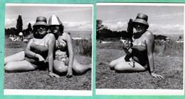 VINTAGE - DEUX BEAUTES ET LEURS BEAUX CHAPEAUX - 2 PHOTOS AMATEUR FORMAT 9 X 9 CM. - Beauté Féminine (1941-1960)