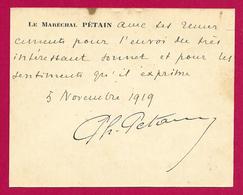 Carte De Visite Datée De 1919 - Le Maréchal Philippe Pétain - Document Expédié Au Colonel Puech De Champigneulles - Cartes De Visite