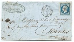 N° 14 BLEU NAPOLEON SUR LETTRE / VILLERS BRETONNEUX POUR NANTES / 27 OCT 1855 - Postmark Collection (Covers)