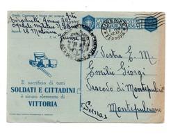 CARTOLINA PER LE FORZE ARMATE OSPEDALE MILITARE 1942 - 1900-44 Vittorio Emanuele III