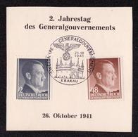DR Abschnitt KRAKAU - 26.10.1941 - Mi.71,82 SST ZWEI JAHRE GENERALGOUVERNEMENT - Besetzungen 1938-45