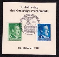 DR Abschnitt WARSCHAU - 26.10.1941 - Mi.74,81 SST ZWEI JAHRE GENERALGOUVERNEMENT - Besetzungen 1938-45