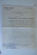 AS Armée Secrète Belge Lettre Reconnaissance Refuge A 60 Nimy - Documents