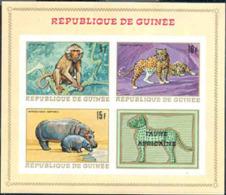 GUINEA (1968) Singe. Hippopotame. Léopard. Bloc Feuillet Non Dentelé, Faune Africaine. Yvert No BF 21, Scott No 514a. - República De Guinea (1958-...)
