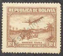 "BOLIVIA (1930c) Plane. Bullock Cart. Airmail Issue Overprinted ""Espécimen"". Scott No C32, Yvert No PA9. - Bolivië"