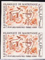 MAURITANIA (1966) Hunter With Bow. Shooting Antelope. Imperforate Pair. Petroglyph From Adrar. Scott No 216 - Mauritanië (1960-...)