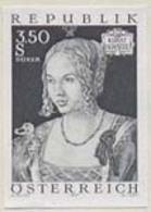 """AUSTRIA (1971) """"Young Venetian Woman"""" By Durer. Black Print. Scott No 896, Yvert No 1191. - Probe- Und Nachdrucke"""