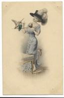 F. KUDERNA-Femme élégante Et Oiseaux Tête D'Hommes...  (trou Punaise) - Kuderna
