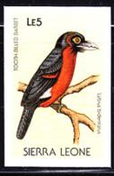 SIERRA LEONE (1988) Tooth-billed Barbet (Lybua Bidentatus). Imperforate Proof. Scott No 976, Yvert No 895. - Sierra Leone (1961-...)