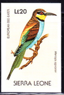 SIERRA LEONE (1988) European Bee-eater (Merops Aplaster). Imperforate Proof. Scott No 980, Yvert No 903. - Sierra Leone (1961-...)