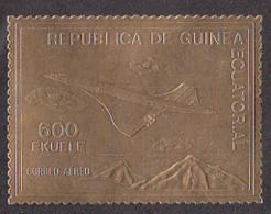 EQUATORIAL GUINEA (1976) Concorde. Gold Foil Stamp. - Equatoriaal Guinea