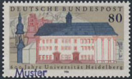 GERMANY (1986) Heidelburg University. MUSTER (Specimen) Overprint. Scott No 1472, Yvert No 1127. - [7] Federal Republic