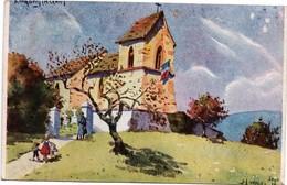 Eglise En Alsace Libérée - Kronberg ? Krochberg ? - Peinture De J-L Walt. - Verso Pub Potasse - Alsace