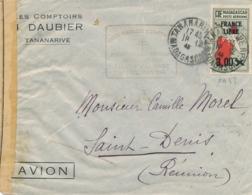 Madagascar PA N° 53 3f FRANCE LIBRE Obl 18/12/43 REOUVERTURE LIAISON AERIENNE SEUL / Lettre >Saint Denis REUNION CENSURE - Madagascar (1889-1960)