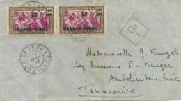 """FRANCE LIBRE 50/65c Obl """" ANJEVA MADAGASCAR 24/4/43 Sur Lettre Censurée Pour Tananarive - CENSEUR Censor - Madagascar (1889-1960)"""