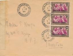 """FRANCE LIBRE 50/65c Obl """" TANANARIVE 7/7/44 MADAGASCAR """" Sur Lettre Censurée Pour Tamatave - CENSEUR Censor - Madagascar (1889-1960)"""