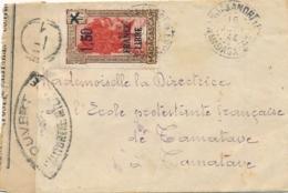 "FRANCE LIBRE 1f50/1f75 Obl "" MANJAKANDRIANA15/6/44 MADAGASCAR "" Sur Lettre Censurée Pour Tamatave - CENSEUR Censor - Madagascar (1889-1960)"