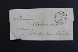 1853 LSC PARIS CAD PORT DÛ 25C 3E /20 POUR NAPOLEON VENDEE (LA ROCHE/YON) CAD ARRIVEE DU 10/06/53 - 1849-1876: Klassik