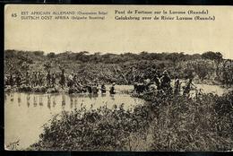 Occ. Belge; Carte Illustrée N° 7. Vue 45 : Pont De Fortune Sur La Luvone (Rwanda) Obl.  1918 Pour England - Entiers Postaux