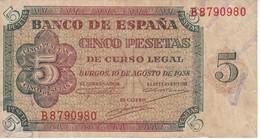 BILLETE DE ESPAÑA DE 5 PTAS DE BURGOS DEL AÑO 1938 SERIE B  (BANKNOTE) - [ 3] 1936-1975 : Régence De Franco