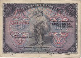BILLETE DE ESPAÑA CLASICO DE 50 PTAS DEL AÑO 1906 SERIE C  (BANKNOTE)  RARO Y DIFICIL - 50 Pesetas