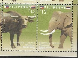 PHILIPPINES, 2019, MNH,JOINT ISSUE WITH THAILAND, BUFFALO, ELEPHANTS, 2v - Elefanten