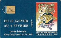 Télécarte Monaco - 17e Festival Du Cirque /  50 U - 100 000 Ex. - 12/92 - Monace