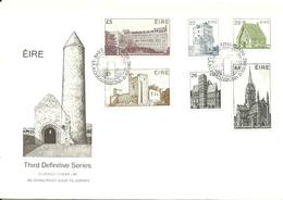 Ireland 1982 Definities Buildings 22, 26, 29, 44, £1 And £2,  FDC - 1949-... Republic Of Ireland
