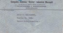EQUATEUR ENVELOPE CIRCULEE DE MANTA A BUENOS AIRES, ARGENTINE ANNEE 1942 PAR AVION BANDELETA -LILHU - Ecuador