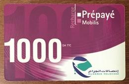 ALGERIE TELECOM MOBILIS RECHARGE GSM 1.000 DINARS PHONECARD PRÉPAYÉE PREPAID - Argelia