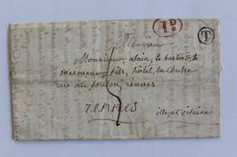 1845 LAC POUR RENNES CAD ARRIVEE DU 17 FEVR 1845 TAXE MANUSCRITE 4 DECIMES TAXE RURALE 1.d MARQUE T DANS UN CERCLE. - 1801-1848: Vorläufer XIX