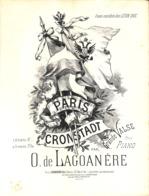 Paris-Cronstadt, Grande Valse, Partition Ancienne, Grand Format, Couverture Illustrée Denis. - Partitions Musicales Anciennes