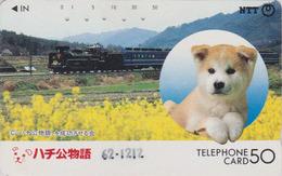 Télécarte Japon / NTT 230-085 - ANIMAL CHIEN CHIBA HACHIKO & TRAIN - DOG JAPAN Phonecard / A - HUND - Trains